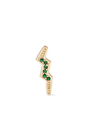 Andrea Fohrman Mini Bolt 14-karat Gold Emerald Earring