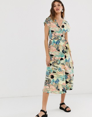 Monki wrap front midi dress with abstract print in pink