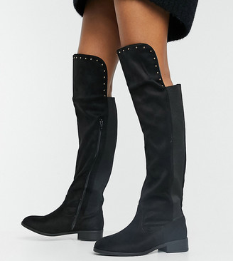 Simply Be extra wide fit knee high flat boot in black