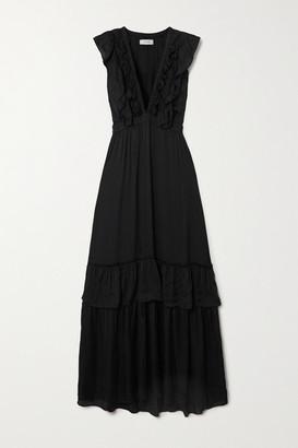 MUNTHE Macedonia Ruffled Washed Satin Maxi Dress - Black