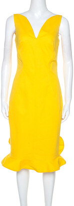 Oscar de la Renta Yellow Stretch Cotton Ruffled Hem Midi Dress S