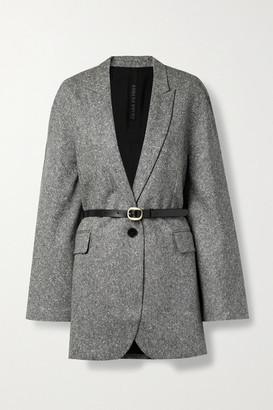 Petar Petrov Joni B Oversized Belted Melange Wool Blazer - Black