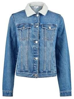 Dorothy Perkins Womens Washed Indigo Borg Denim Jacket