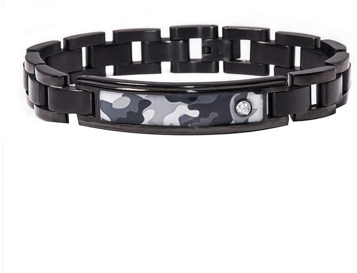 JCPenney FINE JEWELRY Mens Diamond-Accent Stainless Steel Camouflage ID Bracelet