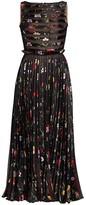 Oscar de la Renta Sleeveless Floral Pleated Silk-Blend Midi Dress