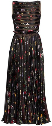 Oscar de la Renta Sleeveless Floral Pleated Silk-Blend Midi Dress