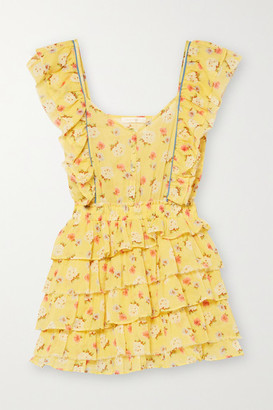LoveShackFancy Phyllis Ruffled Floral-print Cotton-voile Mini Dress - Yellow