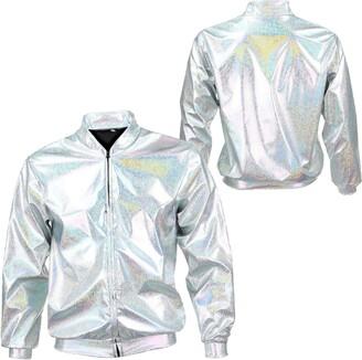 Glitter Jacket Womens Holographic Bomber Jacket Slim FIT Festival Clubbing Pride Fancy Dress Metallic Shiny Rave Lightweight (Metallic Rainbow S/M)