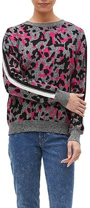 Michael Stars Macy Camo Leopard Jacquard Crew Neck Pullover Sweater (Majesty Camo) Women's Clothing