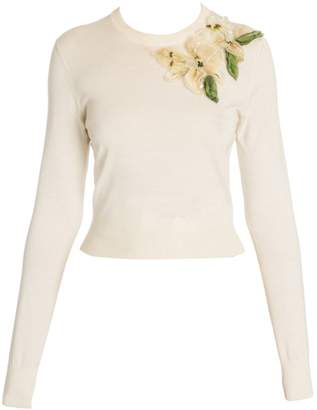 Dolce & Gabbana Long Sleeve Embroidered Floral Knit Pullover