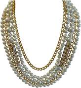 Kenneth Jay Lane 5 Row Pearl &crystal Hourglass Gold Chain Necklace-16-22 Inches