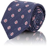 Kiton MEN'S FLORAL-MEDALLION-EMBROIDERED NECKTIE-NAVY