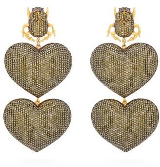 BEGÜM KHAN Scarab Mon Amour Gold-plated Clip Earrings - Gold
