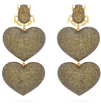 BEGÜM KHAN Scarab Mon Amour Gold-plated Clip Earrings - Womens - Gold