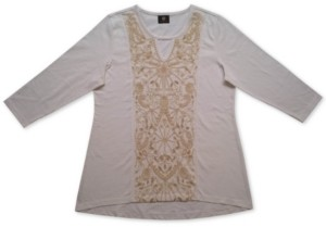 JM Collection Embroidered Keyhole Top, Created for Macy's