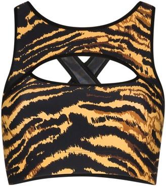 Adam Selman Sport Cutout Tiger-Print Sports Bra
