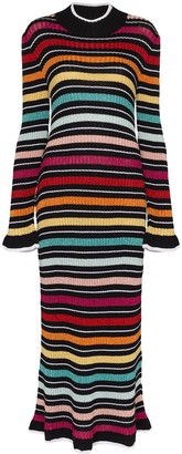 Mary Katrantzou Rainbow Stripe Knitted Midi Dress