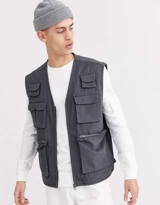 Asos Design DESIGN vest with utility pockets in gray