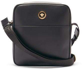 Versace Logo-plaque Leather Cross-body Bag - Black