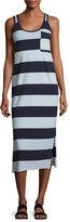 ATM Anthony Thomas Melillo Striped Mercerized Jersey Dress, Blue Pattern