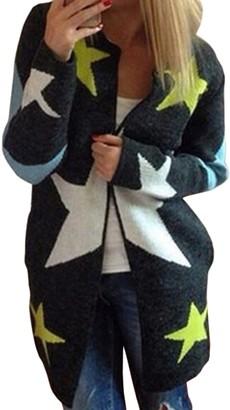 Jumojufol Women's Elegant Knit Star Print Long Sleeve Open Front Fall Long Cardigan Sweaters Darkgrey One Size