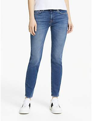 7 For All Mankind Roxanne Mid Rise Cropped Luxe Jeans, Mid Blue