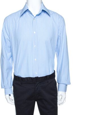 Dolce & Gabbana Bicolor Striped Cotton Long Sleeve Shirt XXL
