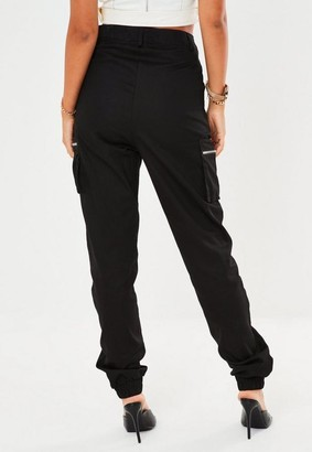 Missguided Petite Black Zip Pocket Cargo Pants