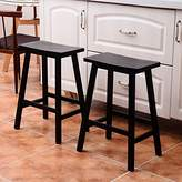 Azadx 24-Inch Bar Stool, Pine Wood Saddle Seat Barstool, Dining Chair with Square Legs for kitchen and home bar -Set of 2 (Black)