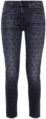 7 For All Mankind Pyper Cropped Polka-dot Low-rise Slim-leg Jeans