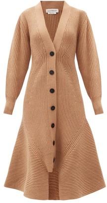 Alexander McQueen Peplum-hem Wool-blend Longline Cardigan - Camel