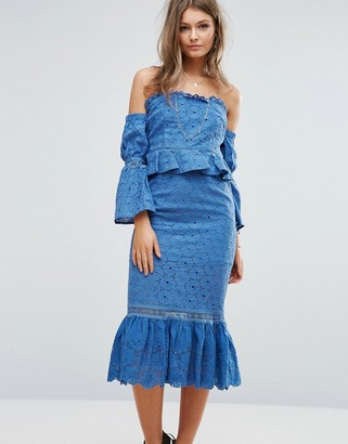 Foxiedox Off The Shoulder Midi Dress With Ruffle Details