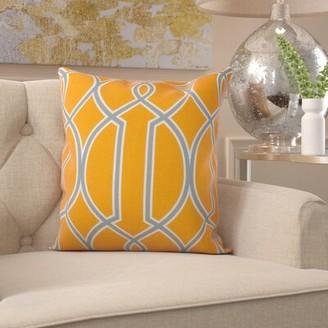 "Dolan Pillow Cover Mercer41 Size: 22"" x 22"", Color: Bright Orange/White"
