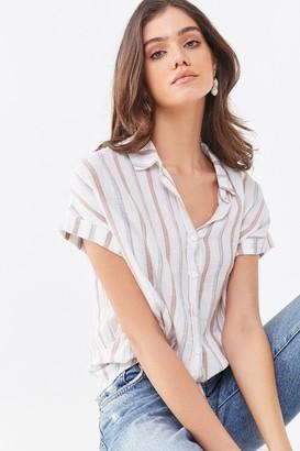 Forever 21 Striped Drawstring Shirt