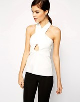 Asos Top with Halter Neck Cut Out in Smart Fabric