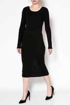MinkPink Black Midi Dress
