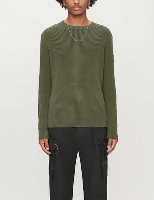 CK Calvin Klein Ribbed cotton-knit and cotton-twill jumper