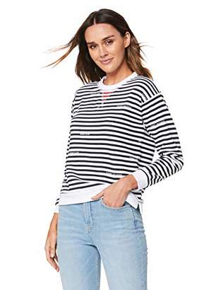 Tommy Hilfiger Women's Kellie C-nk Sweatshirt Ls Long Sleeve Top, Blue STP/Sky Captain 464, Small