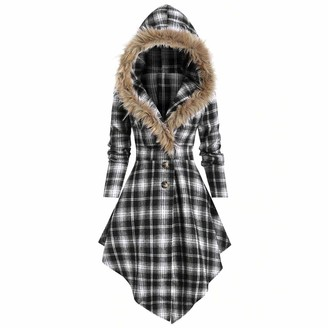 Younthone Party Dresses for Women - Long-Sleeved Plaid Printed Button Coat - Gothic Hooded Jumper-Irregular Vintage Swing Dress Lace-Up Top Cocktail Party Classic Slim Clothes Casual Dress White