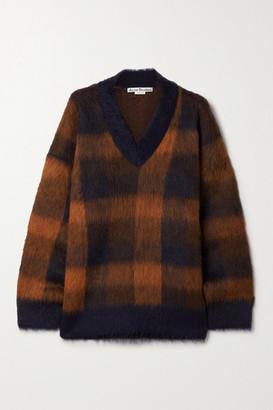 Acne Studios Oversized Checked Knitted Sweater - Navy