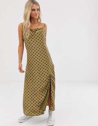 Glamorous satin cowl neck midi dress in polka-Green