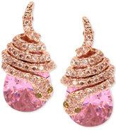 Betsey Johnson Rose Gold-Tone Pink Crystal Pavé Snake Stud Earrings