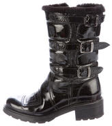 Hogan Patent Leather Round-Toe Boots