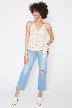 Moon River Shirred Side Tie Cami Ivory XS