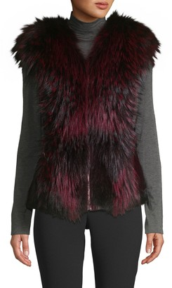Wolfie Fur Made For Generation Dyed Mink & Fox Fur Leather Vest