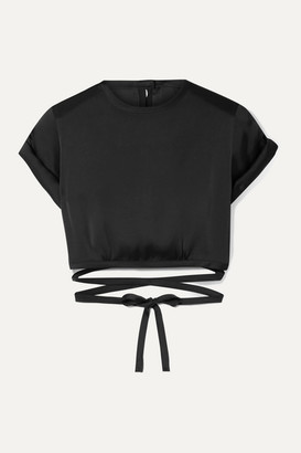 Orseund Iris Le Club Cropped Satin Top - Black