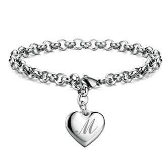 Initial Charm Bracelets Stainless Steel Heart 26 Letters Alphabet Bracelet for Women Valentine's ay Gifts