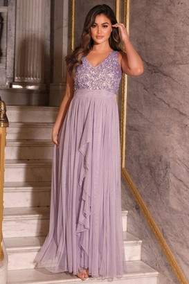 Sistaglam YASMIN LAVENDER SEQUIN DETAILED V NECK TOP TIERED BRIDESMAID DRESS