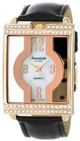 Essential Products Women's Essentials by A.B.S. Black Leather Crystal Bezel Rose Gold Tone Unique Watch 40031