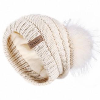 FURTALK Beanie Hat for Ladies Double Layer Fleece Line Winter Rib Knit Hats with Faux Fur Pom Pom Hat Beige